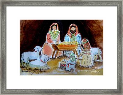 Nativity With Little Drummer Boy Framed Print by Patricia Januszkiewicz