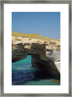 Natural Arch, Tunnel Beach, Dunedin Framed Print by David Wall