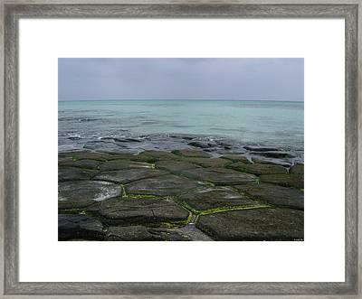Natural Forming Pentagon Rock Formations Of Kumejima Okinawa Japan Framed Print by Jeff at JSJ Photography