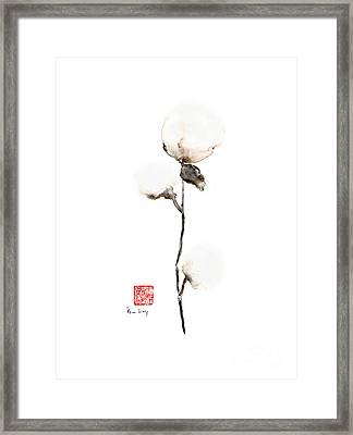 Natural Pure Wild Soft Cotton White Brown Cream Earth Colours Watercolor Painting Framed Print by Johana Szmerdt