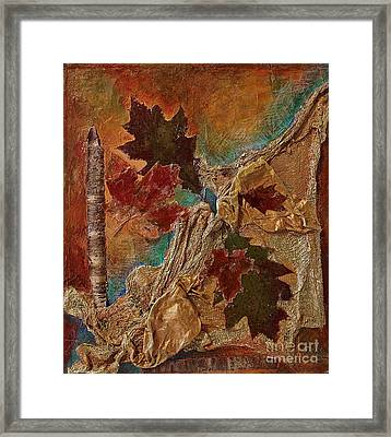 Framed Print featuring the mixed media Natural Rythmes - Earth Colors  by Delona Seserman