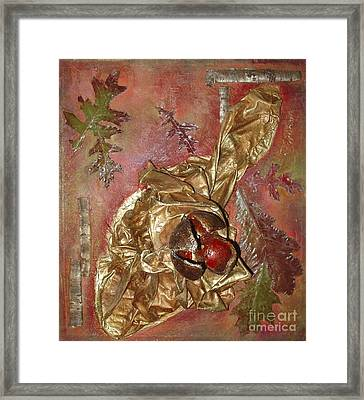 Framed Print featuring the mixed media Natural Rythmes - Red Tones  by Delona Seserman