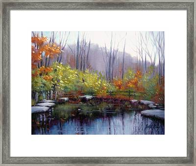 Framed Print featuring the painting Nature Center Pond At Warner Park In Autumn by Janet King