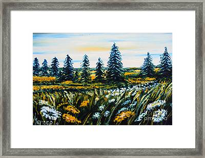Nature Landscape Field Flowers Pines Art  Framed Print by Drinka Mercep