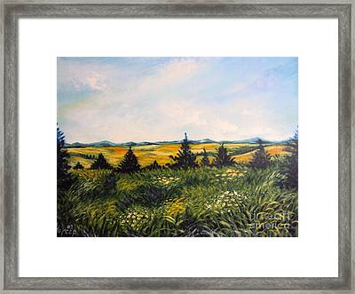 Nature Landscape Sky Mountains Pines Grass And Flowers Framed Print by Drinka Mercep