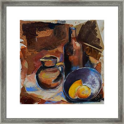 Framed Print featuring the painting Still Life Sepia by Elise Palmigiani