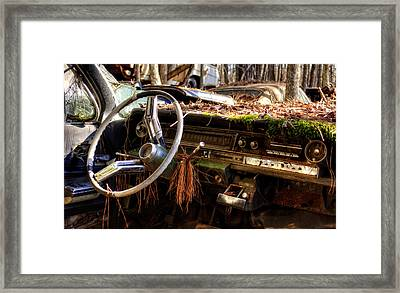 Nature Takes Over A Cadillac Framed Print