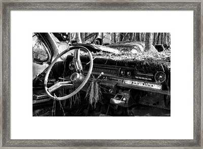 Nature Takes Over A Cadillac In Black And White Framed Print