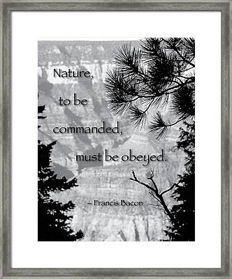 Nature To Be Commanded Framed Print by Mike Flynn