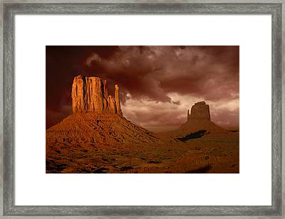 Natures Fury In Monument Valley Arizona Framed Print by Katrina Brown