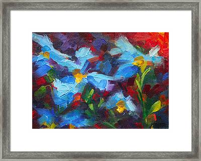 Nature's Palette - Himalayan Blue Poppy Oil Painting Meconopsis Betonicifoliae Framed Print
