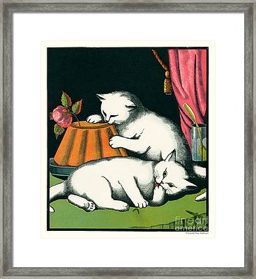 Naughty Cats Preen And Lounge With Rose Topped Cake Framed Print by Pierpont Bay Archives