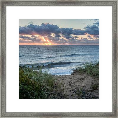 Nauset Light Beach Sunrise Square Framed Print