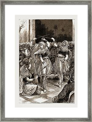 Nautch Fencing Dance Before The Prince Of Wales At Jammu Framed Print by Litz Collection
