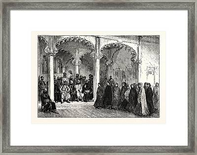 Nautch, Or Dancing Girls, At The Court Of The Rana Framed Print by English School