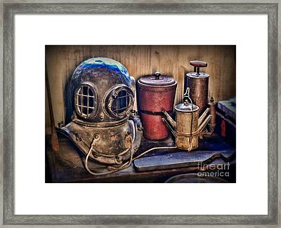 Nautical - Antique Dive Helmet Framed Print by Paul Ward