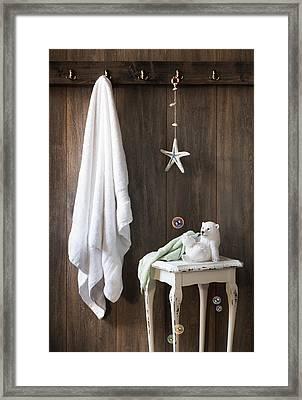 Nautical Bathroom Framed Print by Amanda Elwell