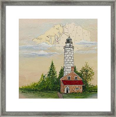 Nautical Chart Cana Island Lighthouse Framed Print by Bethany Kirwen
