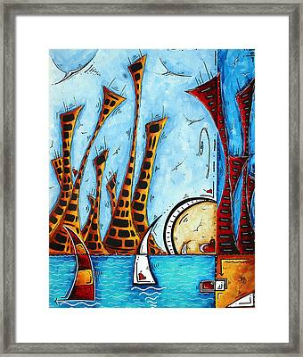 Nautical Coastal Art Original Contemporary Cityscape Painting City By The Bay By Madart Framed Print by Megan Duncanson