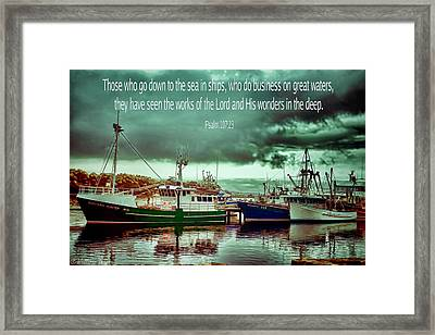 Nautical Greeting Card Down To The Seas In Ships Framed Print by Wallaroo Images