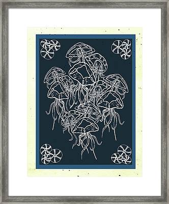 Nautical-jellyfish And Urchins Framed Print by Shanni Welsh