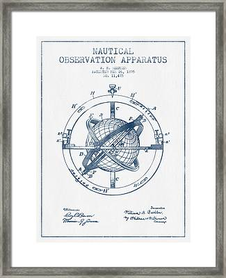 Nautical Observation Apparatus Patent From 1895  -  Blue Ink Framed Print