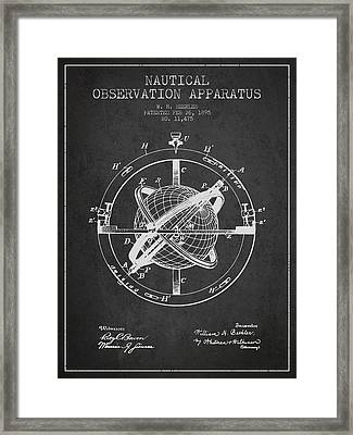 Nautical Observation Apparatus Patent From 1895 - Dark Framed Print by Aged Pixel