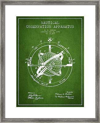 Nautical Observation Apparatus Patent From 1895 - Green Framed Print by Aged Pixel