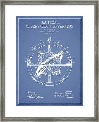 Nautical Observation Apparatus Patent From 1895 - Light Blue Framed Print by Aged Pixel