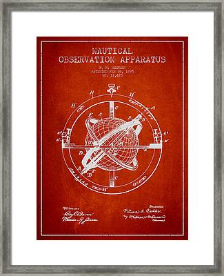 Nautical Observation Apparatus Patent From 1895 - Red Framed Print by Aged Pixel