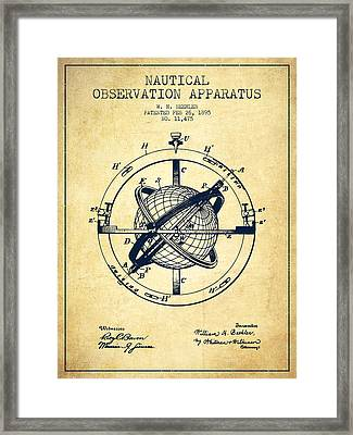 Nautical Observation Apparatus Patent From 1895 - Vintage Framed Print by Aged Pixel