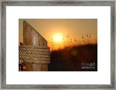 Nautical Rope Sunset Framed Print
