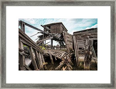 Nautical - Shipwreck - Collapsed Pier Framed Print