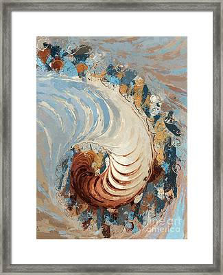 Nautilus Abstract - Blue/brown/beige Framed Print by Heidi Smith
