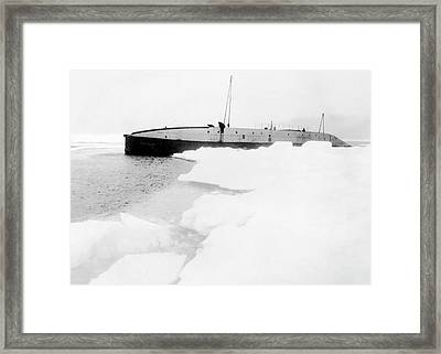 Nautilus Submarine In The Arctic Framed Print by American Philosophical Society