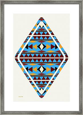 Navajo Blue Pattern Art Framed Print by Christina Rollo