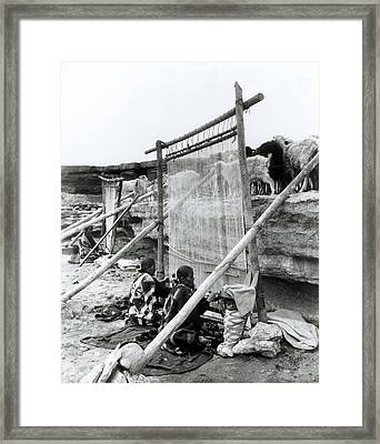 Navajo Weavers, C.1914 Bw Photo Framed Print by William J. Carpenter
