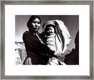 Navajo Woman With Infant Framed Print by Ansel Adams