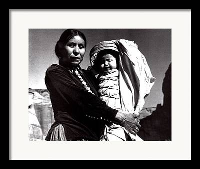 Indian Woman With Child Framed Prints