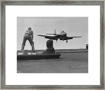 Naval Banshee Jet Plane Framed Print by Retro Images Archive