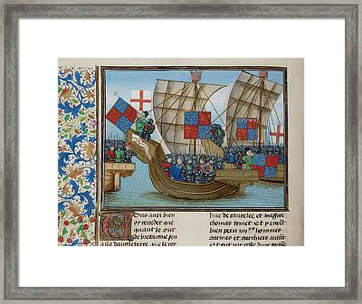 Naval Battle Between France And England Framed Print by British Library
