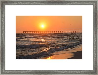 Navarre Beach And Pier Sunset Colors With Birds And Waves Framed Print