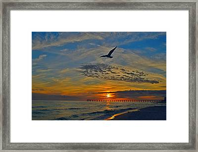 Navarre Beach And Pier Sunset Colors With Gulls And Waves Framed Print by Jeff at JSJ Photography