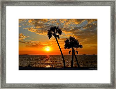 Navarre Beach Bridge Sunrise Palms Framed Print