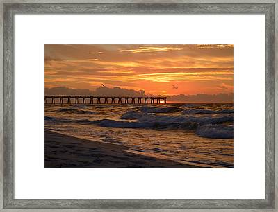 Navarre Pier At Sunrise With Waves Framed Print