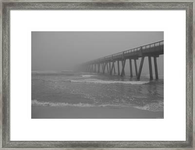 Navarre Pier Disappears In The Bw Fog Framed Print