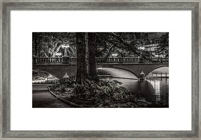 Framed Print featuring the photograph Navarro Street Bridge At Night by Steven Sparks