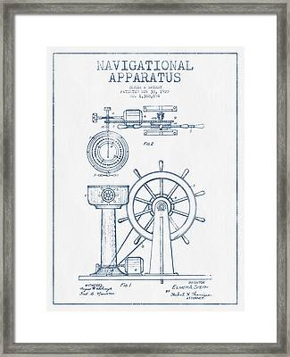 Navigational Apparatus Patent Drawing From 1920  -  Blue Ink Framed Print