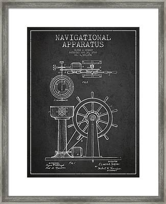 Navigational Apparatus Patent Drawing From 1920 - Dark Framed Print