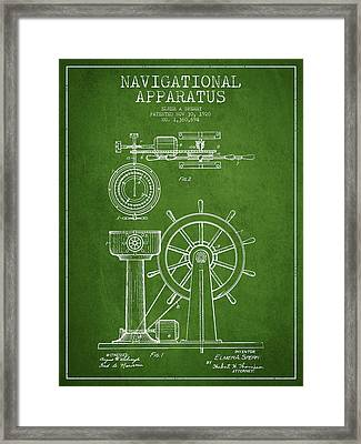 Navigational Apparatus Patent Drawing From 1920 - Green Framed Print